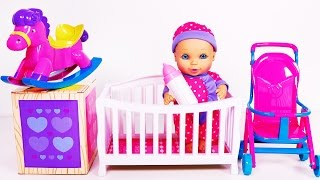 Baby Doll Feeding Time Bedtime and Playtime with Stroller Playset!! Nursery Rhymes Video for Kids