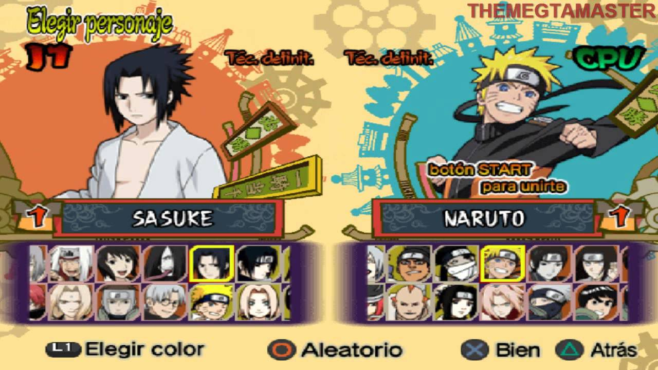 Naruto Shipudden Ultimate Ninja 5 PS2 Todos los personajes