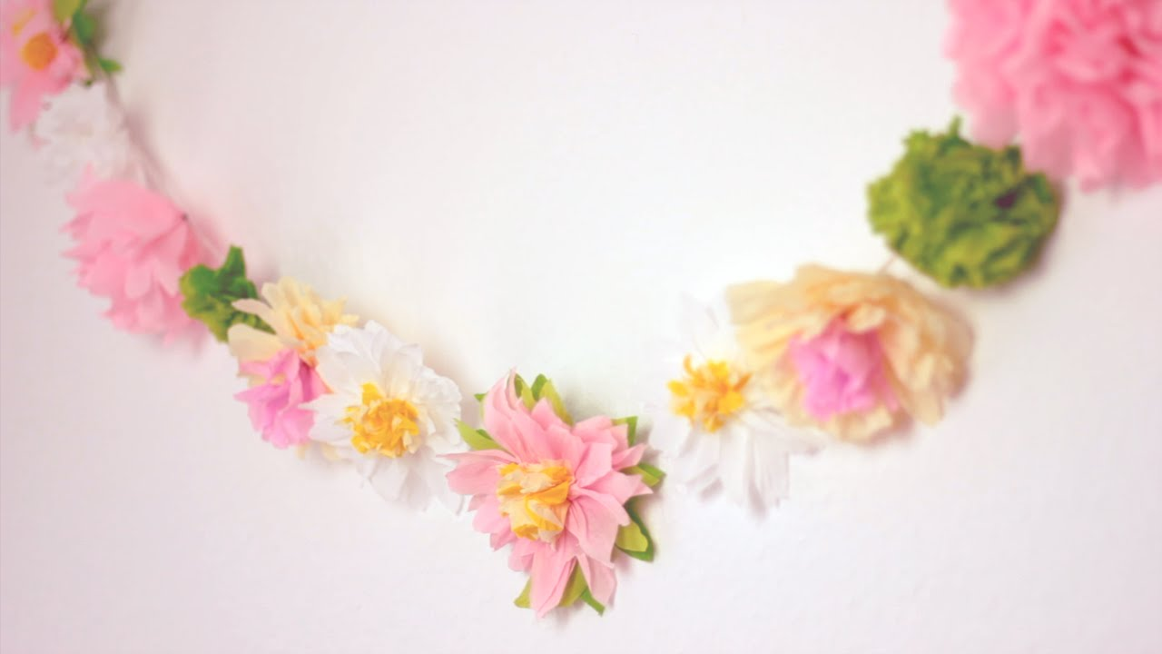 Diy paper flower garland cute happy home decor ideas youtube mightylinksfo Choice Image