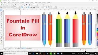 Learn CorelDraw in hindi tutorial 29 fountain fill tool  in coreldraw & how to create pen & pencil
