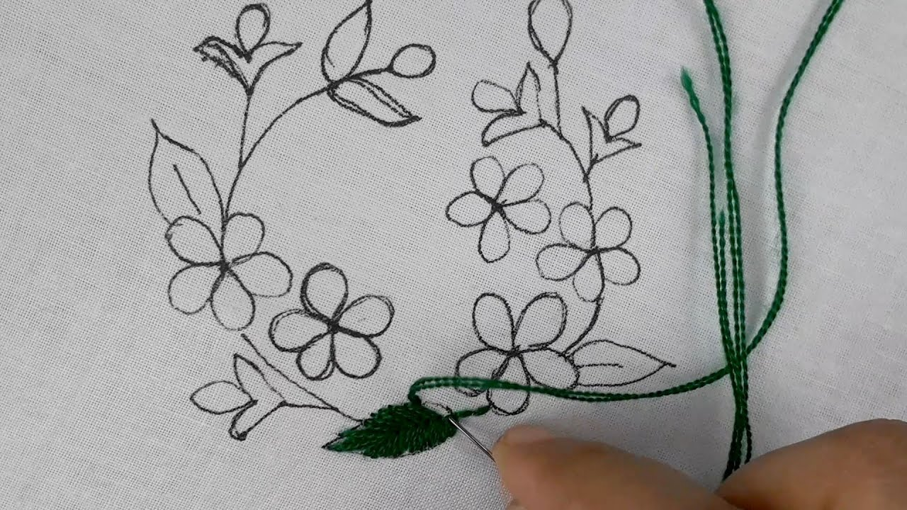 Easy Cushion Cover Embroidery Tutorial | pillow cover embroidery#bed sheet design