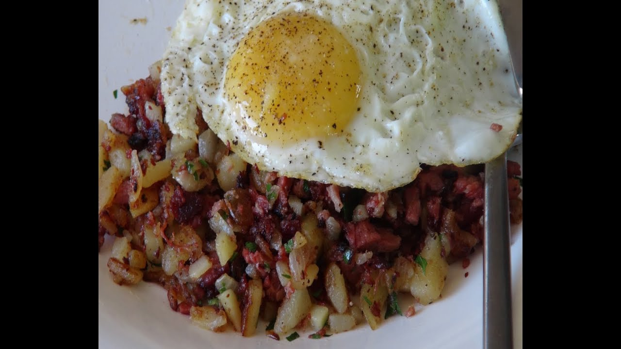 How to Make Corned Beef Hash with Sunny Side Up Eggs - YouTube