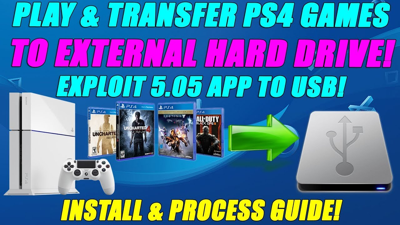 PLAY & TRANSFER PS4 GAMES TO EXTERNAL HARD DRIVE! EXPLOIT 5 05 APP TO USB!