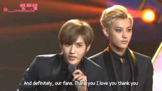 [ENG SUB] 131206 EXO-M Chinese Billboard Best Group Award Speech by: @__cheonsanim