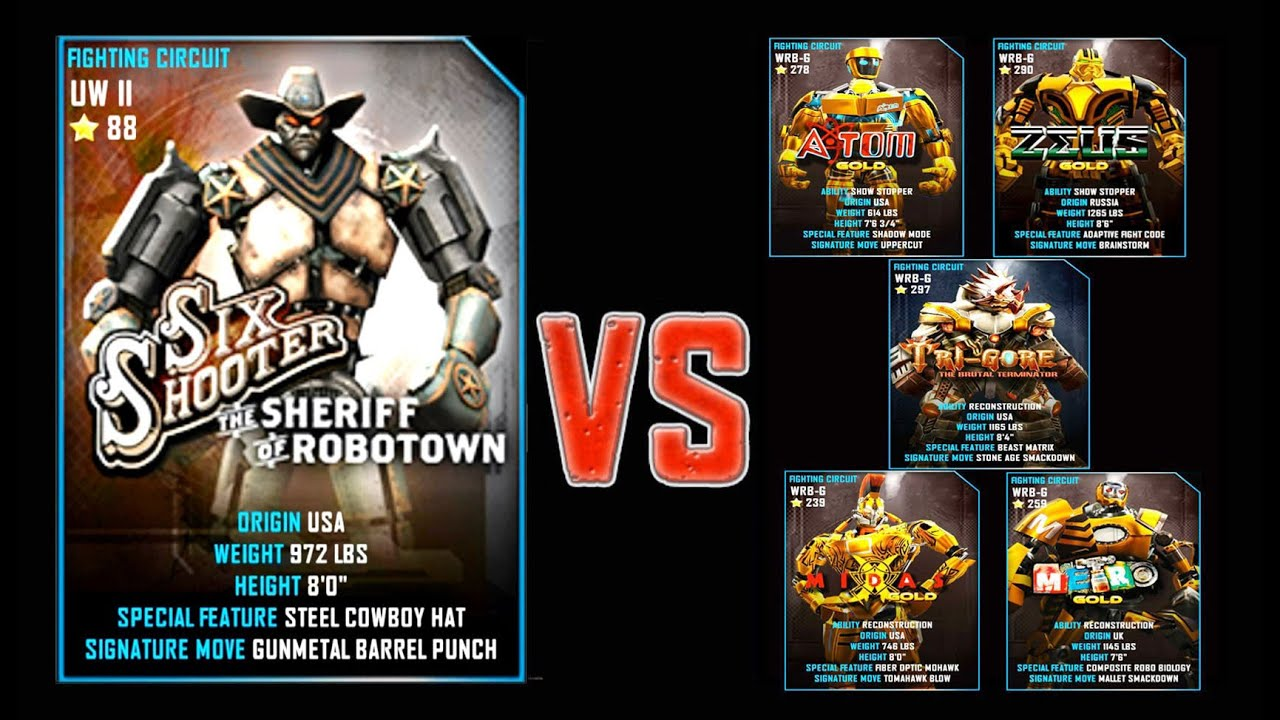Real Steel WRB FINAL Six Shooter VS GOLD ROBOTS Series of ...