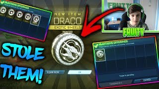 I STOLE HIS WHITE DRACOS AND CRIM VOLTAICS | *INSANE* (PRANK) | Rocket League