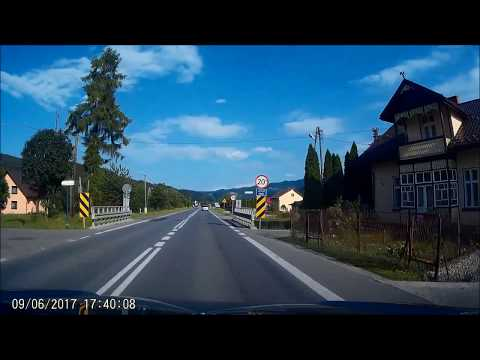 Driving on Polish village rural Poland