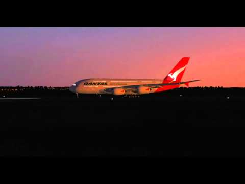 X- Plane 10.45  Quantas Night Flight Air bus A380 800