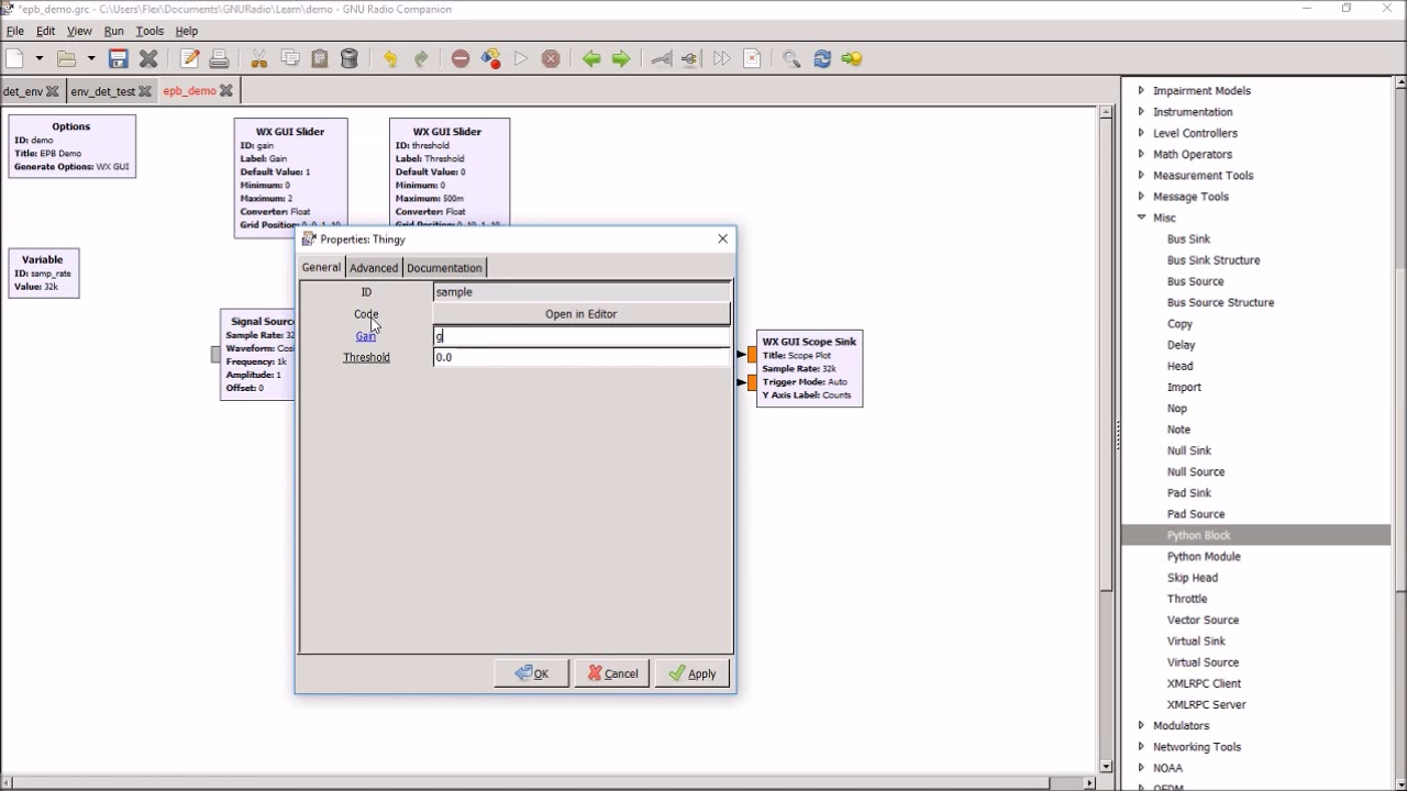 GNURadio Embedded Python Block