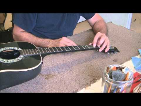 063 RSW Ovation Guitar Part 1 Bridge Failure and Reworking the Fret Board