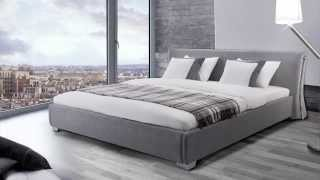 Beliani Upholstered Bed - Fabric  - 6 Ft - Incl. Stable Slatted Frame - Grey - Paris - Eng
