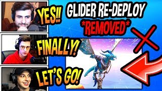 """STREAMERS REACT TO """"GLIDER RE-DEPLOY"""" *REMOVED* FROM FORTNITE! (CRAZY!) Fortnite SAVAGE Moments"""