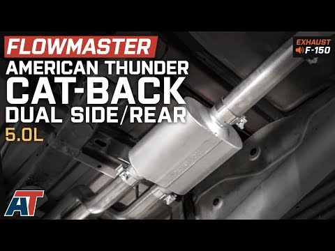 2015-2018 F150 Flowmaster American Thunder Dual Exhaust - Side/Rear Exit 5.0L Sound Clip & Install
