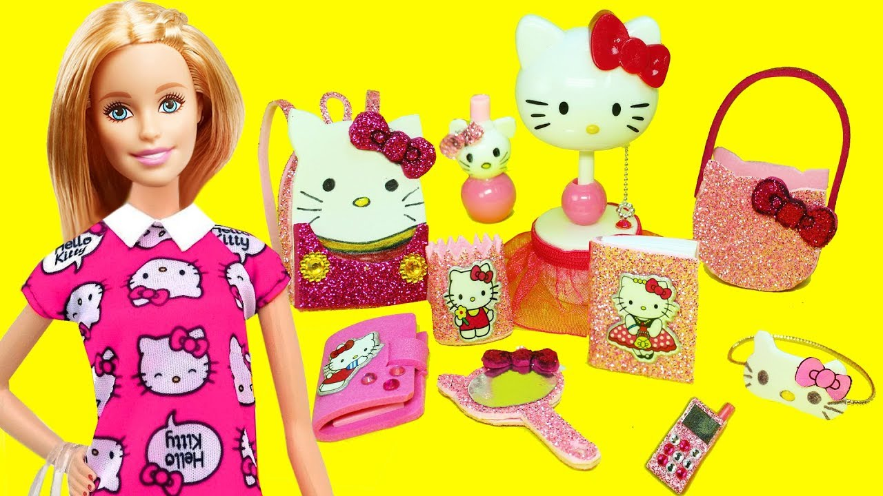 7d45eebf5 10 DIY MINIATURE HELLO KITTY Barbie DOLL CRAFTS & Accessories -  simplekidscrafts