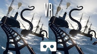 Virtual Reality Roller Coaster: Scary VR Video with Sea Kraken