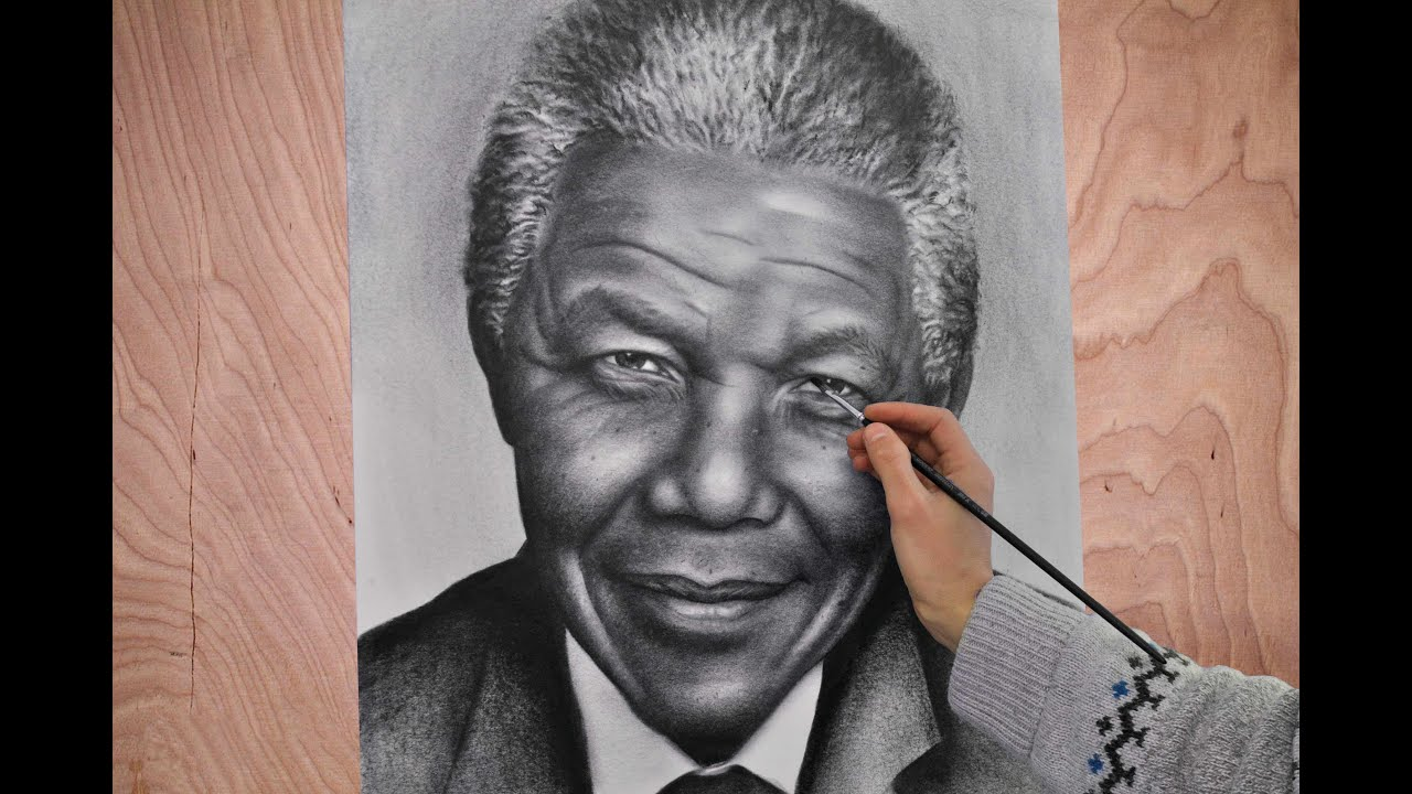 Nelson mandela portrait speed drawing painting photorealism how to draw a portrait