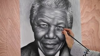 Nelson Mandela Portrait speed drawing painting photorealism. How to draw a portrait.