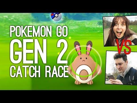 Pokemon Go Gameplay: Pokemon Go Gen 2 Catch Race - ELLEN VS LUKE
