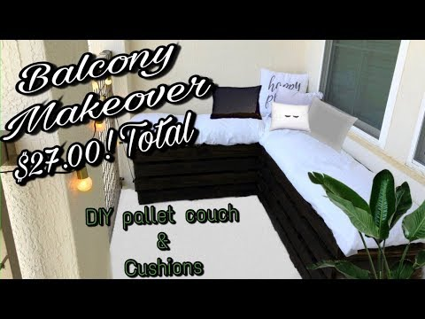 Balcony Makeover / DIY pallet couch & cushions (part 1) | Andrea and Kevin