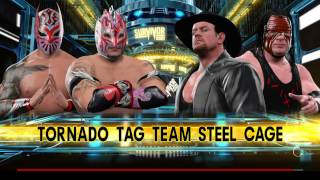 WWE 2K17 Kalisto,Sin Cara VS The Undertaker,Kane In A Steel Cage Tornado Tag Mat