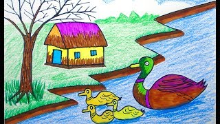 How to draw Scenery, scenery of Coloring Pages VIDEO FOR KIDS