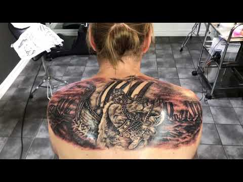 Viking back piece in 3 sessions by Robert Costea Tattoo Art Bucharest