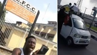 Naira Marley's Fans Storm EFCC Office To Protest His Arrest.