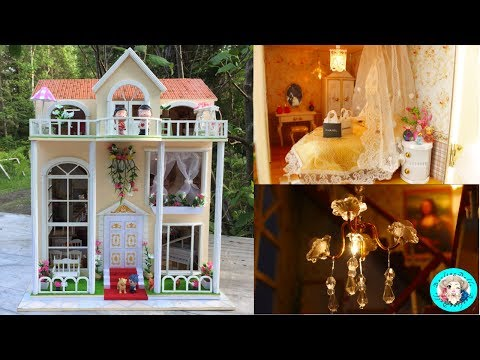 💗 DIY Miniature Sweet Home Dollhouse With LED Lights ミニチュアドー
