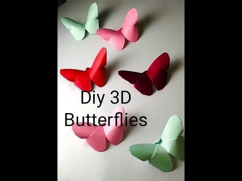 3d butterfly paper craft | easy origami butterfly | Diy paper butterfly wall decor