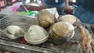 🦐牡蠣小屋でゼイタク海鮮三昧~広島牡蠣、ほたて、ほっき貝、あさり、あわび、エビ、Shrimp、Abalone、Shellfish Oyster House