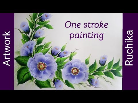 One Stroke Flower Painting | Acrylic Painting