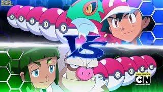 Pokemon XY&Z Ash vs Sawyer Fourth/League Battle English Dub