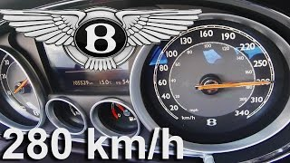 Bentley Continental GT V8 Acceleration 0-280 km/h Speed Test Autobahn & Sound