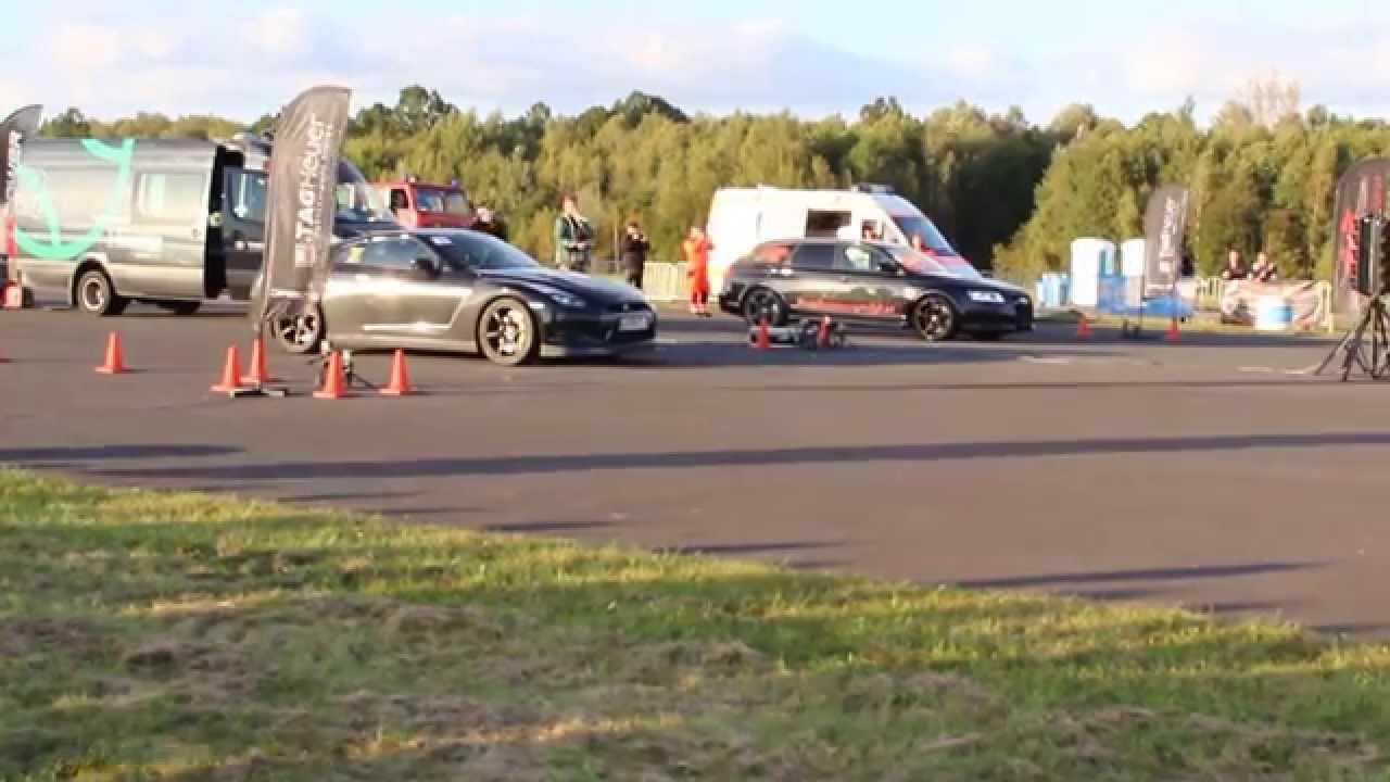 Nissan GT-R vs AUDI rs6 ,1/4 mile races, 2000 hp (both ...
