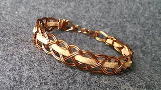 Bracelet wire knot with leather cord - wire wrap jewelry making 220