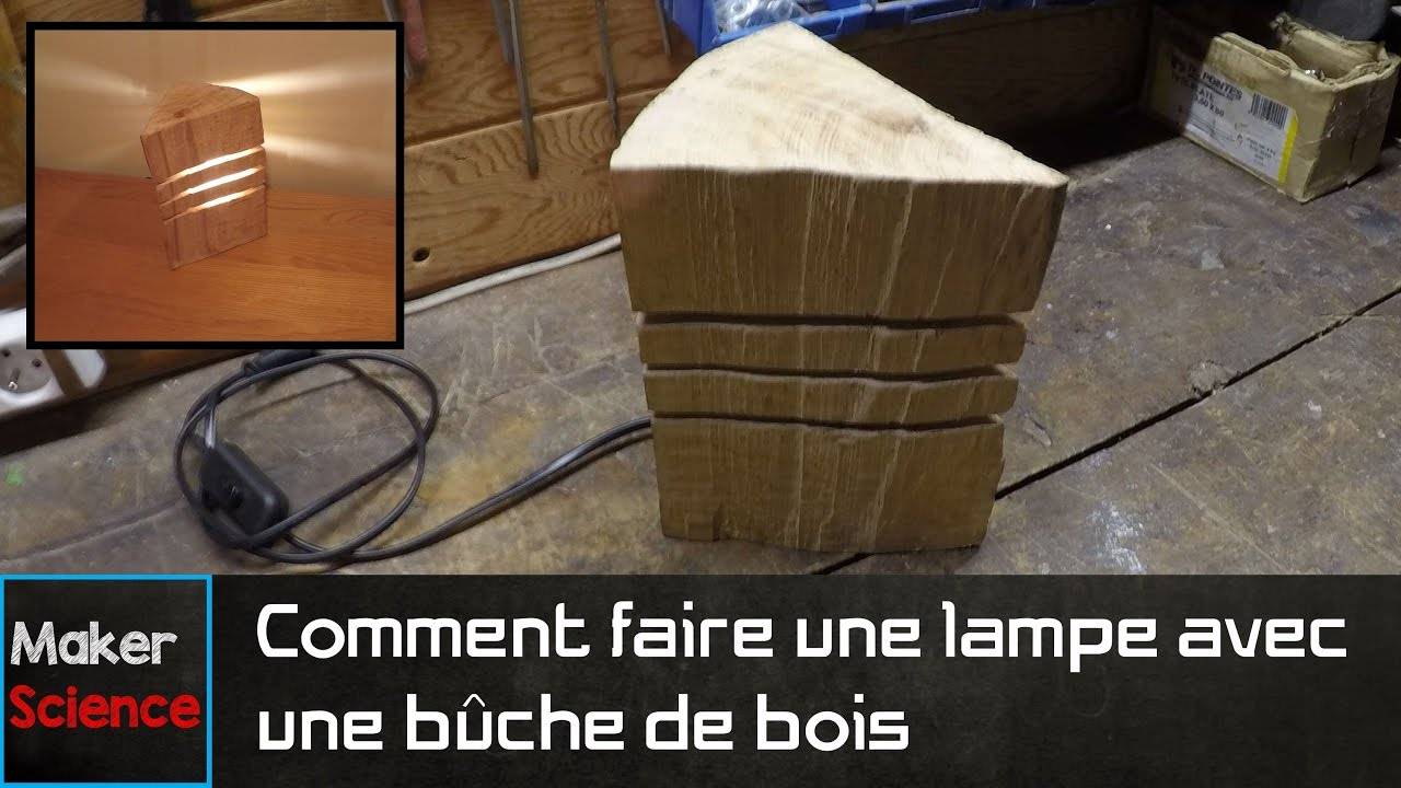 diy comment faire une lampe avec une b che de bois youtube. Black Bedroom Furniture Sets. Home Design Ideas