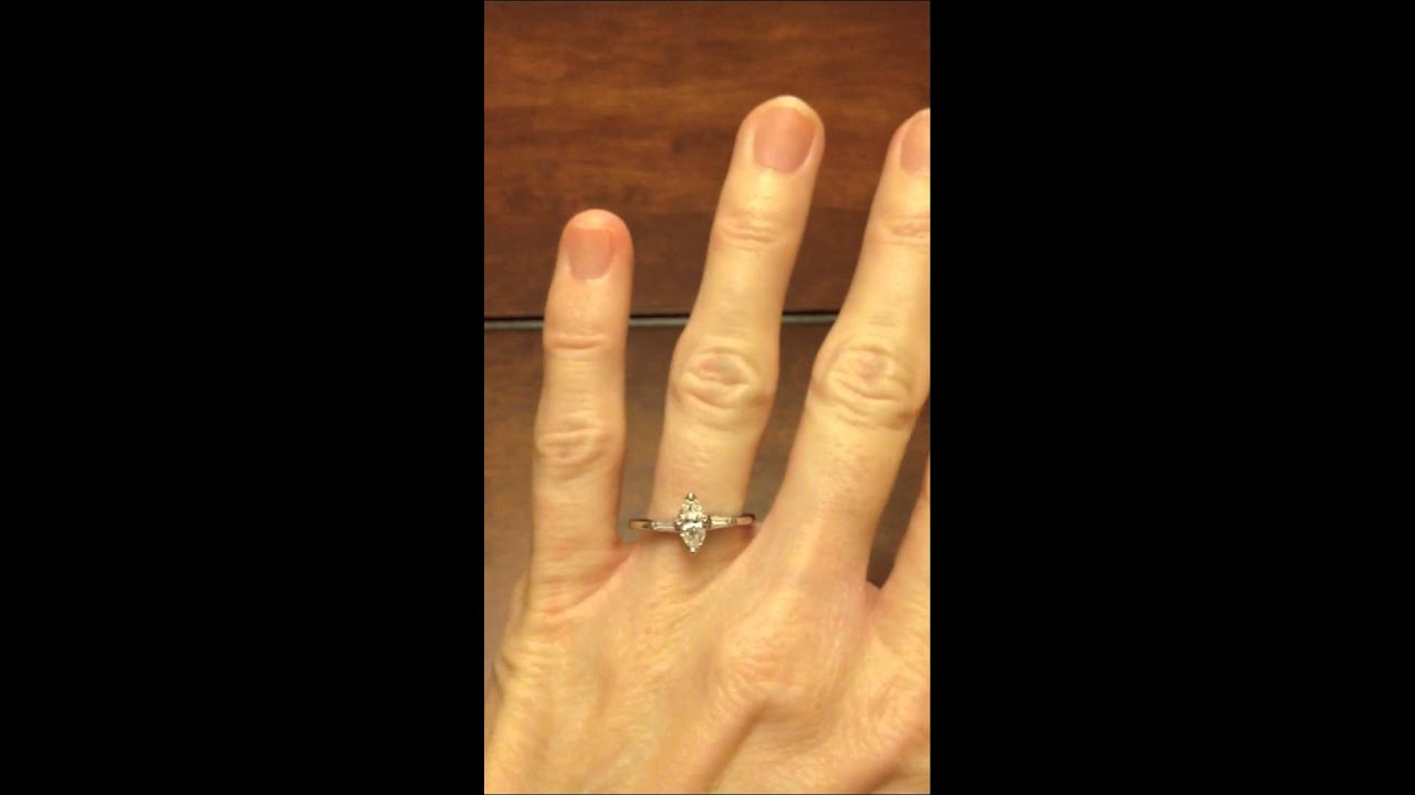 Certified Marquise Diamond Solitaire With Baguette Accents