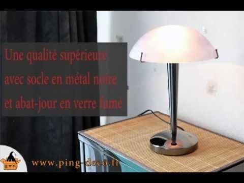 lampe touch tactile métal noir et abat-jour en verre fumée bleu