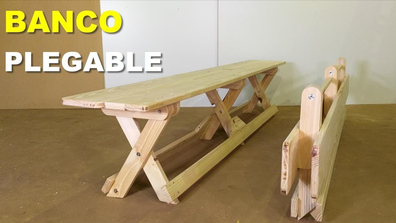 Banco plegable de madera para 4 personas paso a paso - Como hacer bancos de madera ...