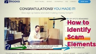 Brooks Blueprint Scam Review, How to identify Scam Elements