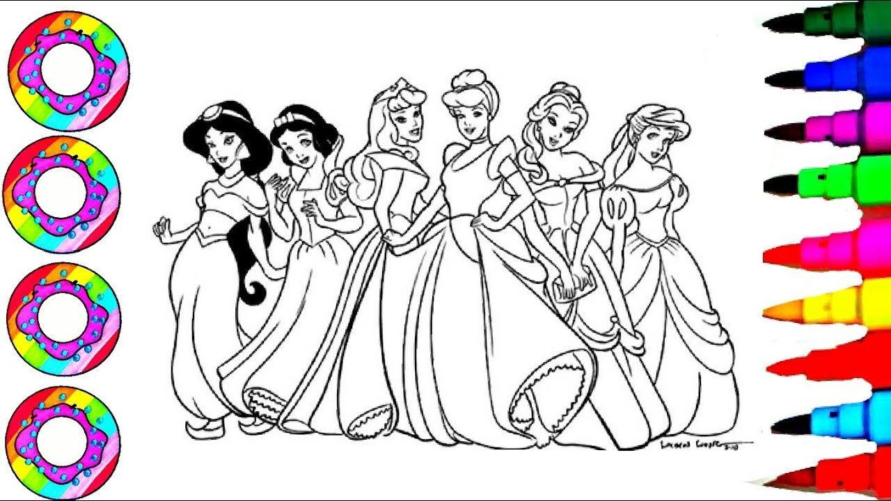 Disney\'s Princesses Jasmine, Belle, Ariel Aurora, Cinderella in Rainbow  Dress Coloring Page