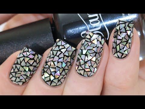 Disco / Broken Mirror / Broken Glass Nail Art Tutorial thumbnail