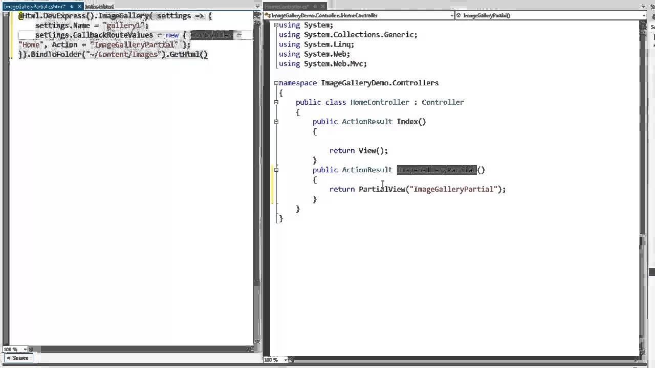 DevExpress ASP NET MVC: ImageGallery