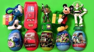 super surprise easter eggs kinder smurfs toy story buzz lightning mcqueen disney pixar cars mickey