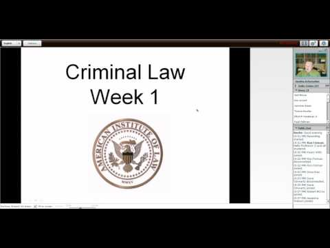 Video Criminal Law Week 1, Class 1