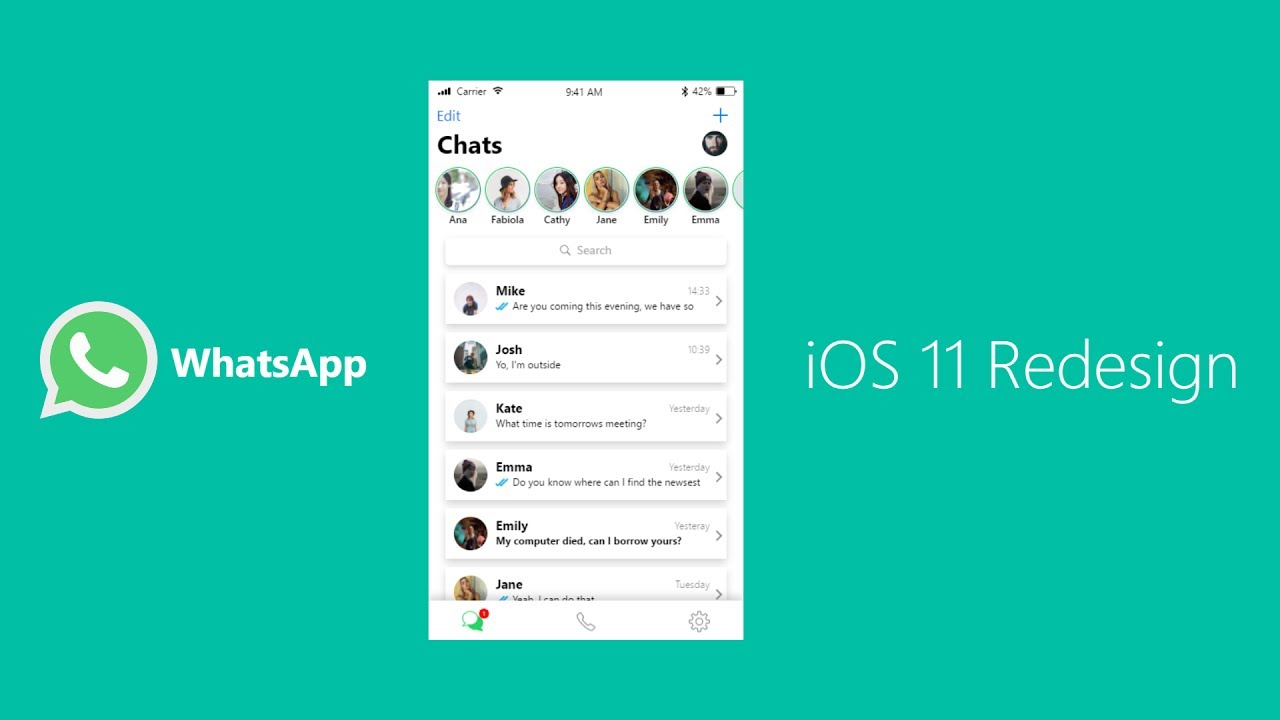 whatsapp free download for iphone whatsapp redesign for ios 11 designed with adobe xd 18227