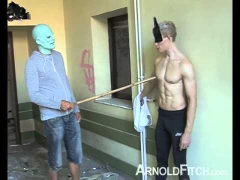 AaronMark as Catman is interrogated by Superhero Muscle Abs