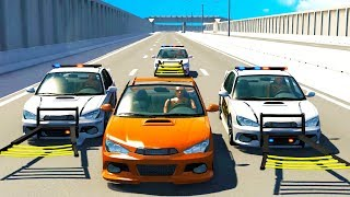 Police High Speed Wheel Grabber Takedowns - BeamNG Drive Police Chase Compilation