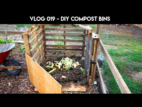VLOG 019 - DIY compost bins from wooden pallets - garden mix - oraganic gardening - no till