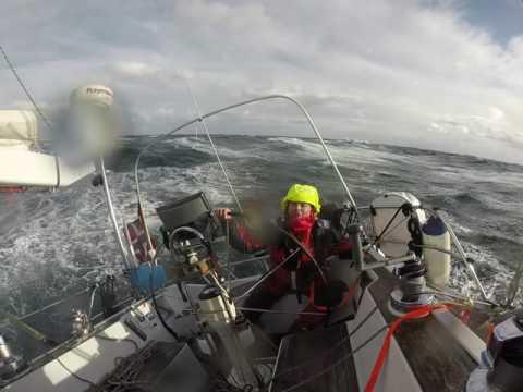 Sailing the Stadhavet Sea, Norwegian West Coast stormy autumn 2016.